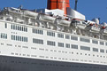 Photograph of the QE2's starboard side superstructure
