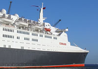 Photograph of the QE2 docked in Southampton