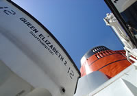Photograph of the QE2's funnel