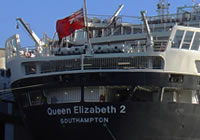 Photograph of the QE2's stern