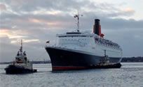 Video still capture of QE2's final arrival