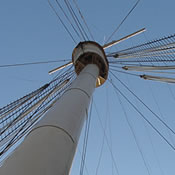 The forward mast of the RMS Queen Mary